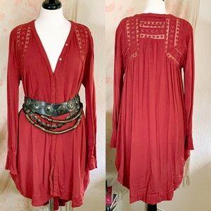 Free People Rust colored boho mini dress